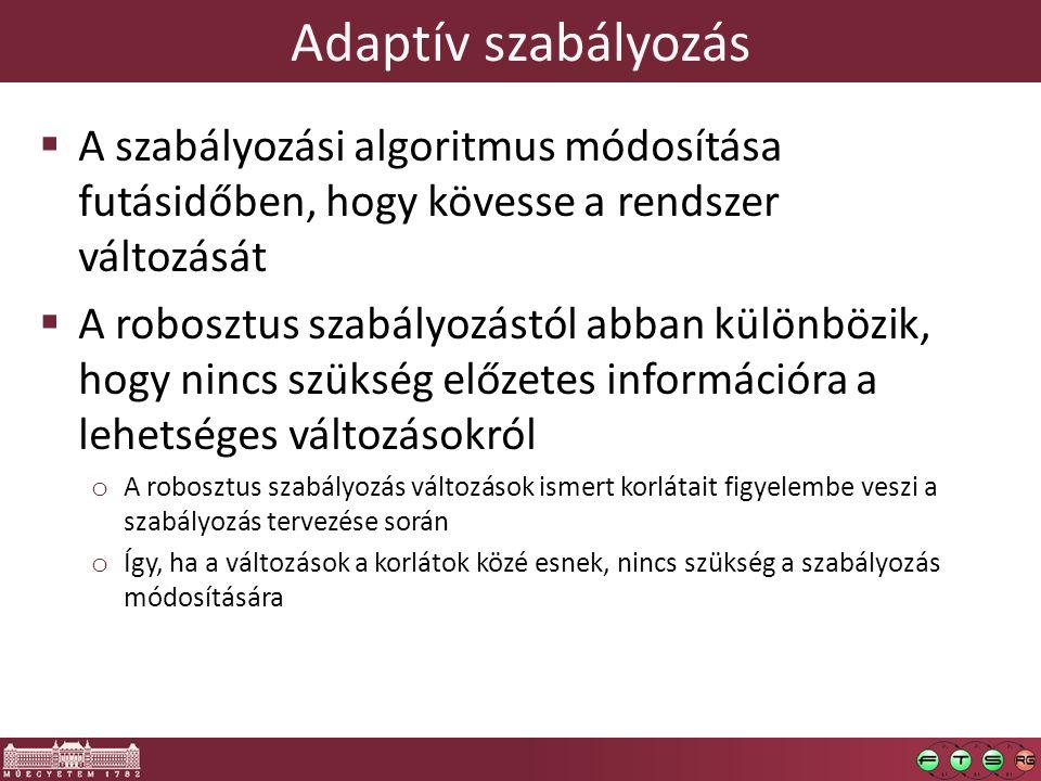 Adaptív szabályozás  A szabályozási algoritmus módosítása futásidőben, hogy kövesse a rendszer változását  A robosztus szabályozástól abban különböz