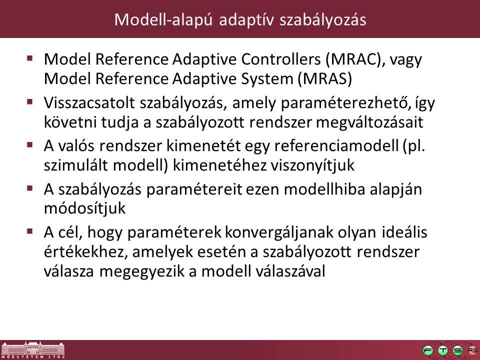 Modell-alapú adaptív szabályozás  Model Reference Adaptive Controllers (MRAC), vagy Model Reference Adaptive System (MRAS)  Visszacsatolt szabályozás, amely paraméterezhető, így követni tudja a szabályozott rendszer megváltozásait  A valós rendszer kimenetét egy referenciamodell (pl.