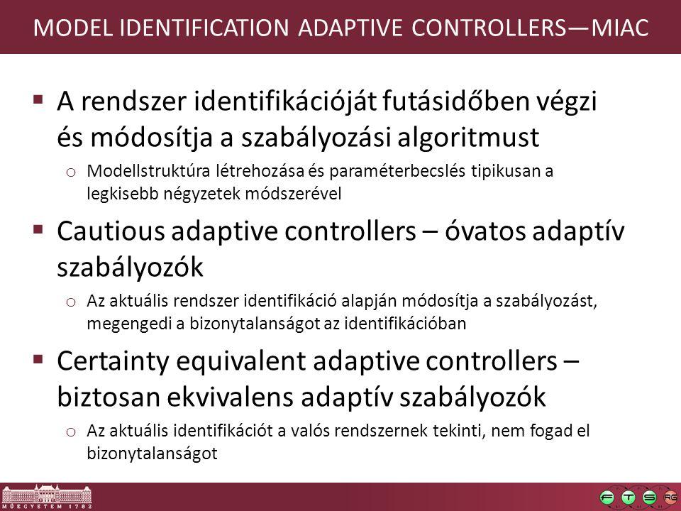 MODEL IDENTIFICATION ADAPTIVE CONTROLLERS—MIAC  A rendszer identifikációját futásidőben végzi és módosítja a szabályozási algoritmust o Modellstruktúra létrehozása és paraméterbecslés tipikusan a legkisebb négyzetek módszerével  Cautious adaptive controllers – óvatos adaptív szabályozók o Az aktuális rendszer identifikáció alapján módosítja a szabályozást, megengedi a bizonytalanságot az identifikációban  Certainty equivalent adaptive controllers – biztosan ekvivalens adaptív szabályozók o Az aktuális identifikációt a valós rendszernek tekinti, nem fogad el bizonytalanságot 114