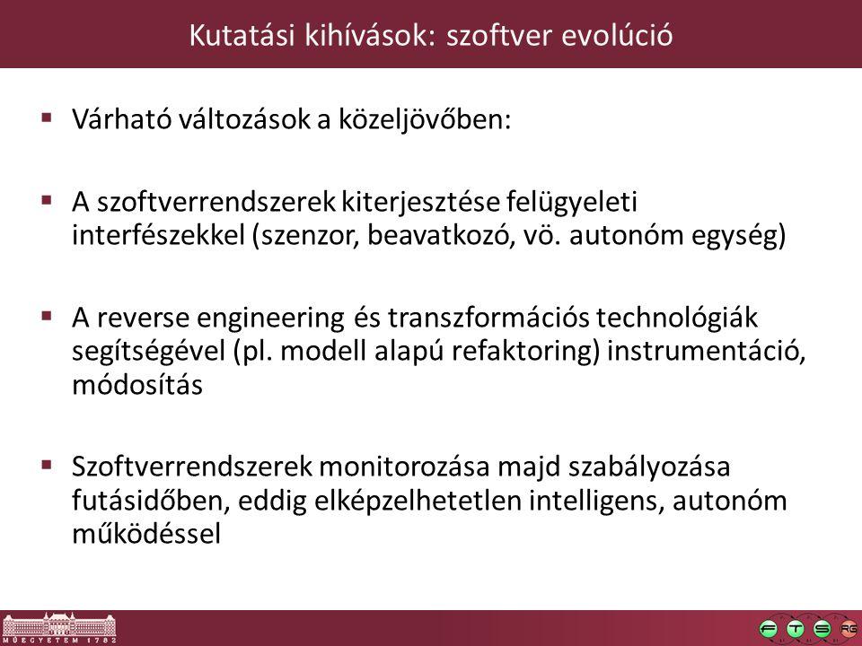 Kutatási kihívások: szoftver evolúció  Várható változások a közeljövőben:  A szoftverrendszerek kiterjesztése felügyeleti interfészekkel (szenzor, beavatkozó, vö.