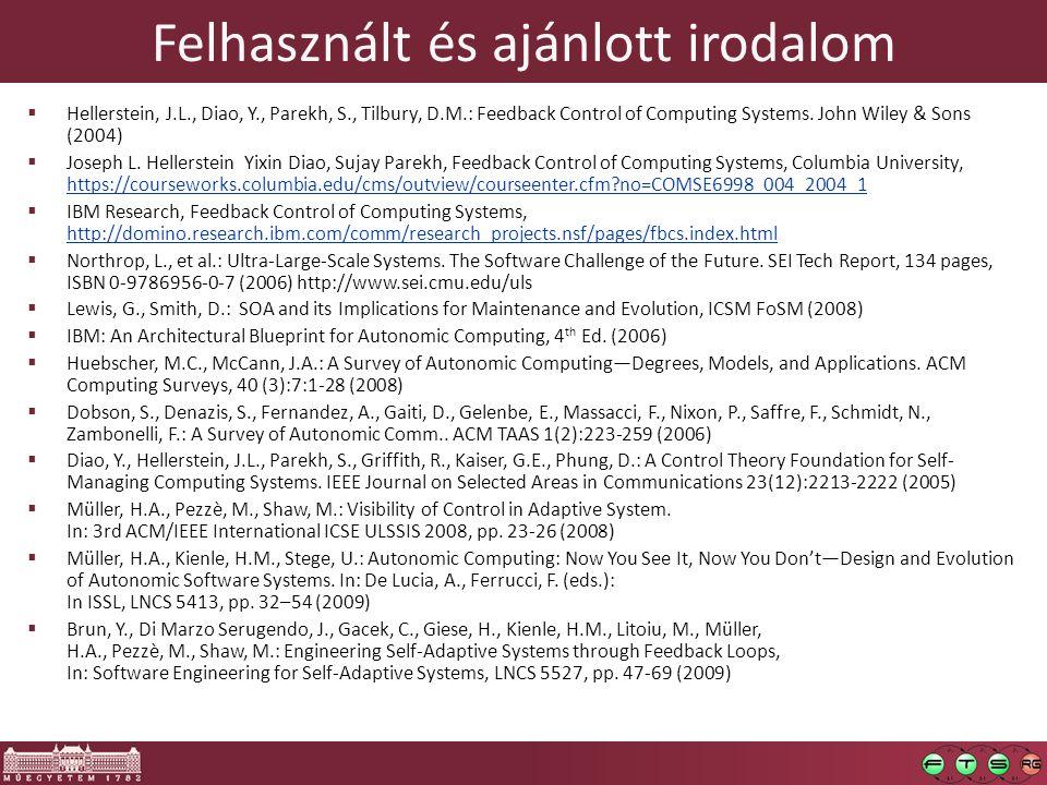 Felhasznált és ajánlott irodalom  Hellerstein, J.L., Diao, Y., Parekh, S., Tilbury, D.M.: Feedback Control of Computing Systems. John Wiley & Sons (2