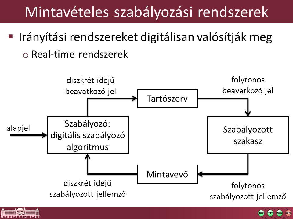 Mintavételes szabályozási rendszerek  Irányítási rendszereket digitálisan valósítják meg o Real-time rendszerek Szabályozó: digitális szabályozó algoritmus Tartószerv Szabályozott szakasz Mintavevő alapjel diszkrét idejű szabályozott jellemző diszkrét idejű beavatkozó jel folytonos beavatkozó jel folytonos szabályozott jellemző