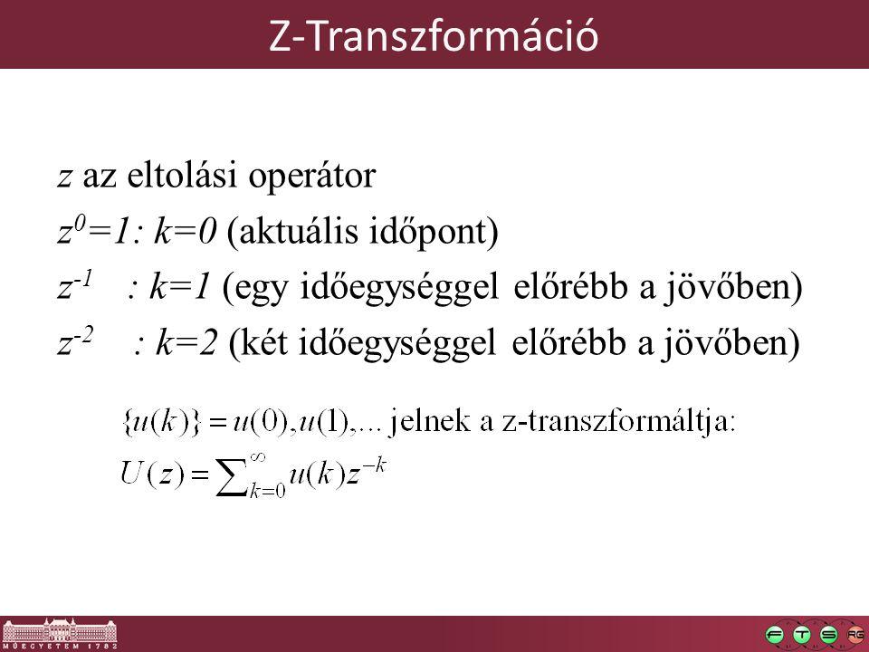 Z-Transzformáció z az eltolási operátor z 0 =1: k=0 (aktuális időpont) z -1 : k=1 (egy időegységgel előrébb a jövőben) z -2 : k=2 (két időegységgel el