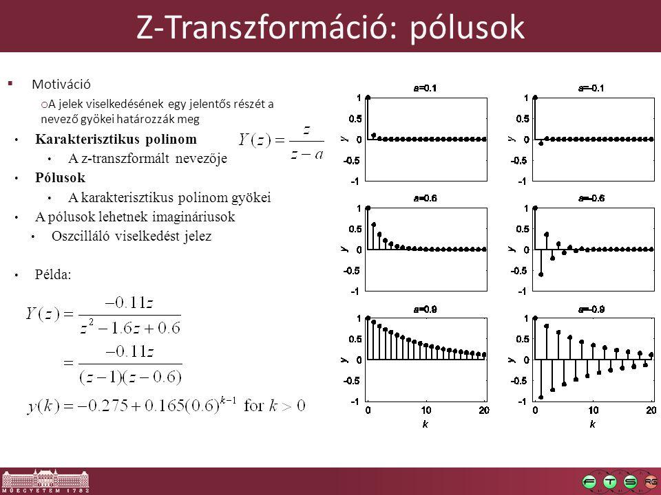 Z-Transzformáció: pólusok  Motiváció o A jelek viselkedésének egy jelentős részét a nevező gyökei határozzák meg Karakterisztikus polinom A z-transzformált nevezője Pólusok A karakterisztikus polinom gyökei A pólusok lehetnek imagináriusok Oszcilláló viselkedést jelez Példa: