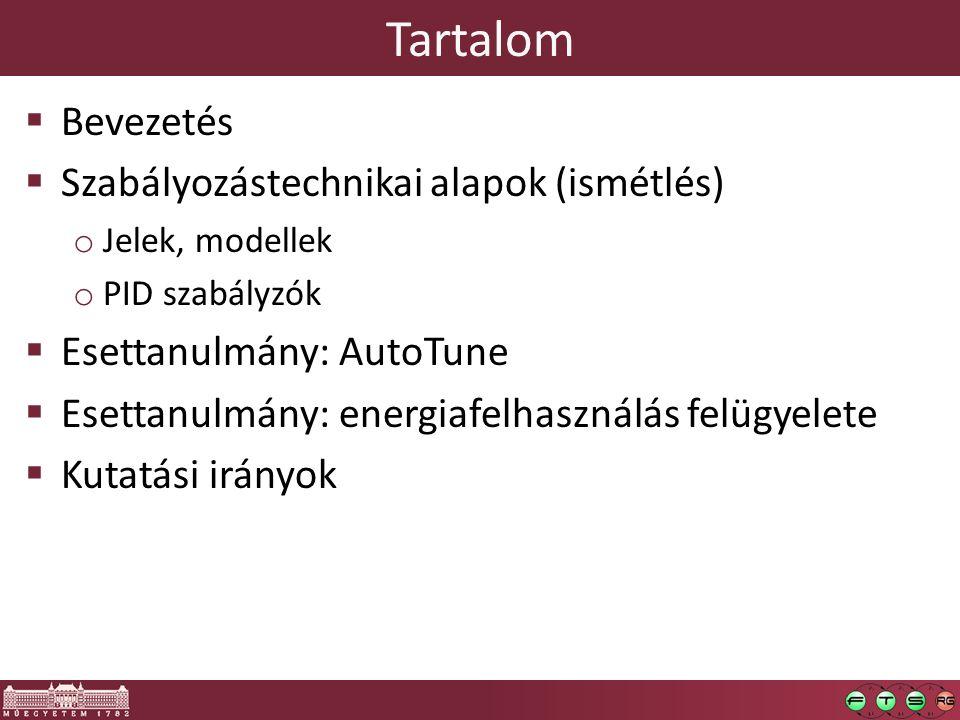 Tartalom  Bevezetés  Szabályozástechnikai alapok (ismétlés) o Jelek, modellek o PID szabályzók  Esettanulmány: AutoTune  Esettanulmány: energiafel
