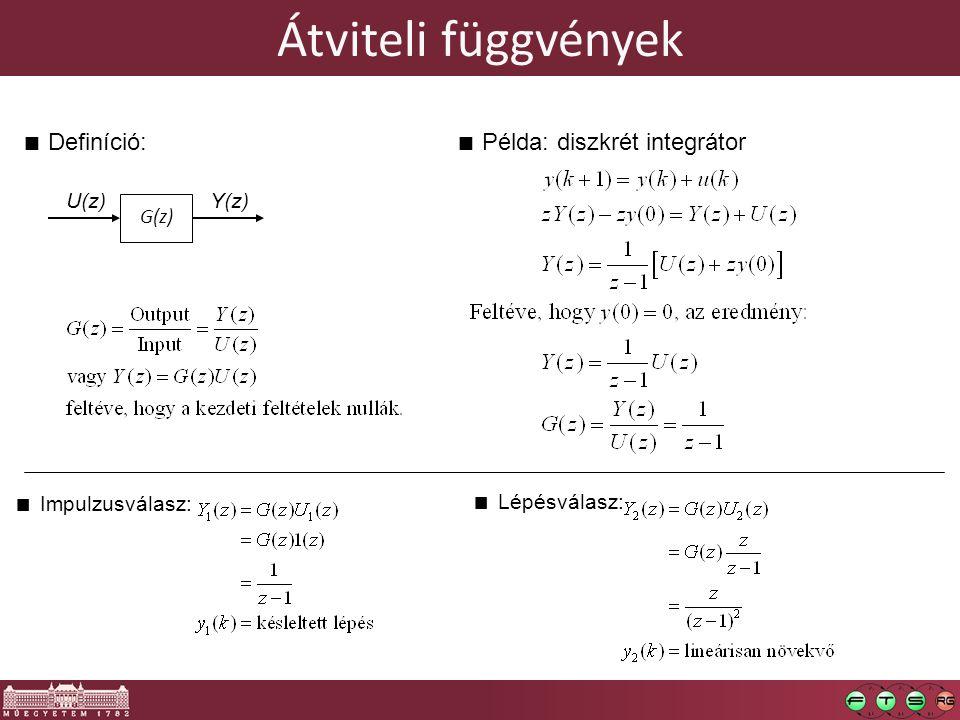 Átviteli függvények G(z) Y(z)U(z) Impulzusválasz: Lépésválasz: Definíció:Példa: diszkrét integrátor