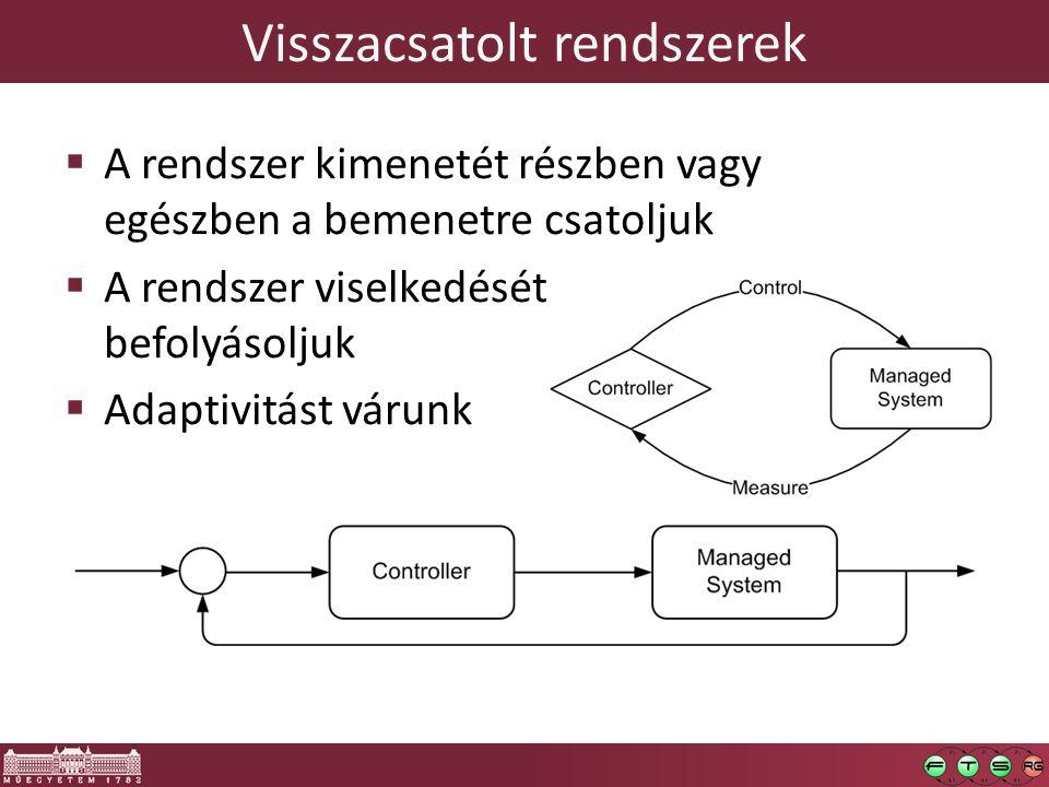 Visszacsatolt rendszerek 4  A rendszer kimenetét részben vagy egészben a bemenetre csatoljuk  A rendszer viselkedését befolyásoljuk  Adaptivitást várunk
