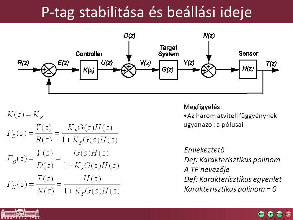 P-tag stabilitása és beállási ideje Megfigyelés: Az három átviteli függvénynek ugyanazok a pólusai Emlékeztető Def: Karakterisztikus polinom A TF nevezője Def: Karakterisztikus egyenlet Karakterisztikus polinom = 0