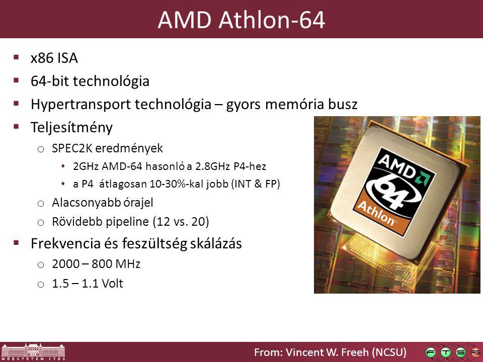 AMD Athlon-64  x86 ISA  64-bit technológia  Hypertransport technológia – gyors memória busz  Teljesítmény o SPEC2K eredmények 2GHz AMD-64 hasonló a 2.8GHz P4-hez a P4 átlagosan 10-30%-kal jobb (INT & FP) o Alacsonyabb órajel o Rövidebb pipeline (12 vs.