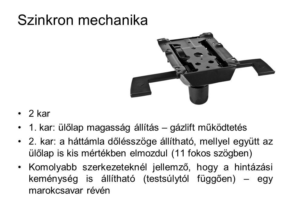 Szinkron mechanika 2 kar 1. kar: ülőlap magasság állítás – gázlift működtetés 2. kar: a háttámla dőlésszöge állítható, mellyel együtt az ülőlap is kis
