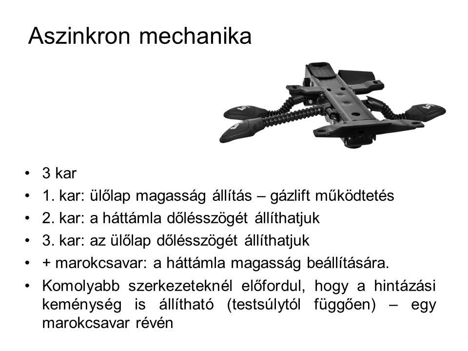 Aszinkron mechanika 3 kar 1. kar: ülőlap magasság állítás – gázlift működtetés 2. kar: a háttámla dőlésszögét állíthatjuk 3. kar: az ülőlap dőlésszögé