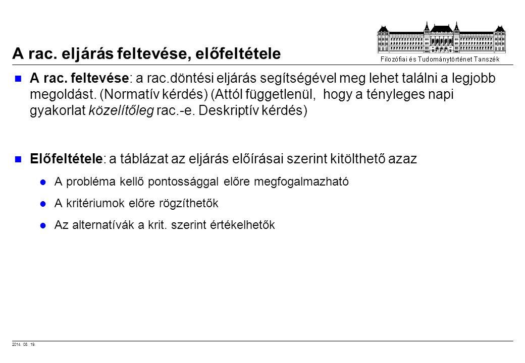 2014. 08. 19. A rac. eljárás feltevése, előfeltétele A rac. feltevése: a rac.döntési eljárás segítségével meg lehet találni a legjobb megoldást. (Norm