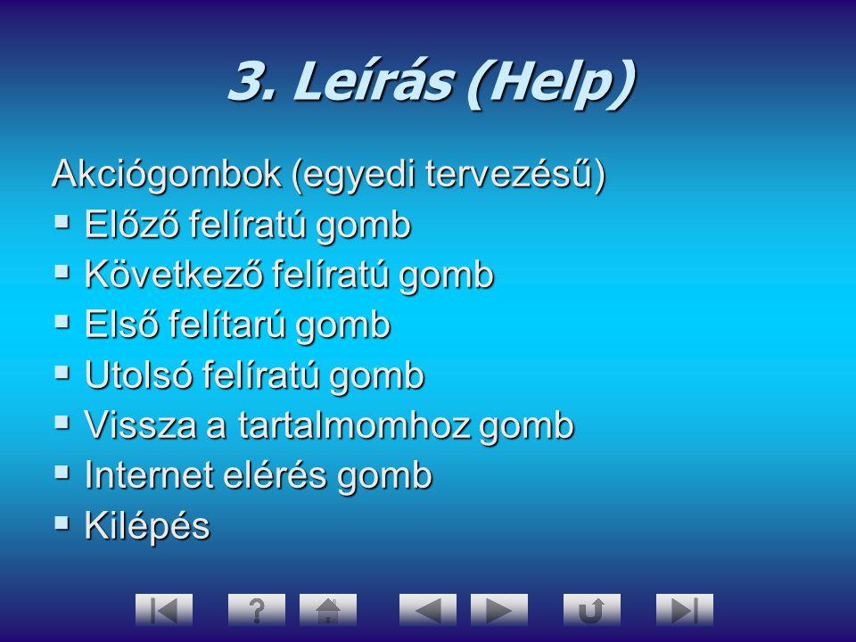 3. Leírás (Help) Akciógombok (egyedi tervezésű)  Előző felíratú gomb  Következő felíratú gomb  Első felítarú gomb  Utolsó felíratú gomb  Vissza a