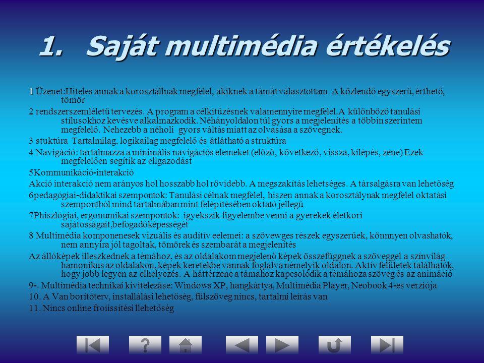 1.Saját multimédia értékelés 1 1 Üzenet:Hiteles annak a korosztállnak megfelel, akiknek a támát választottam A közlendő egyszerű, érthető, tömör 2 ren