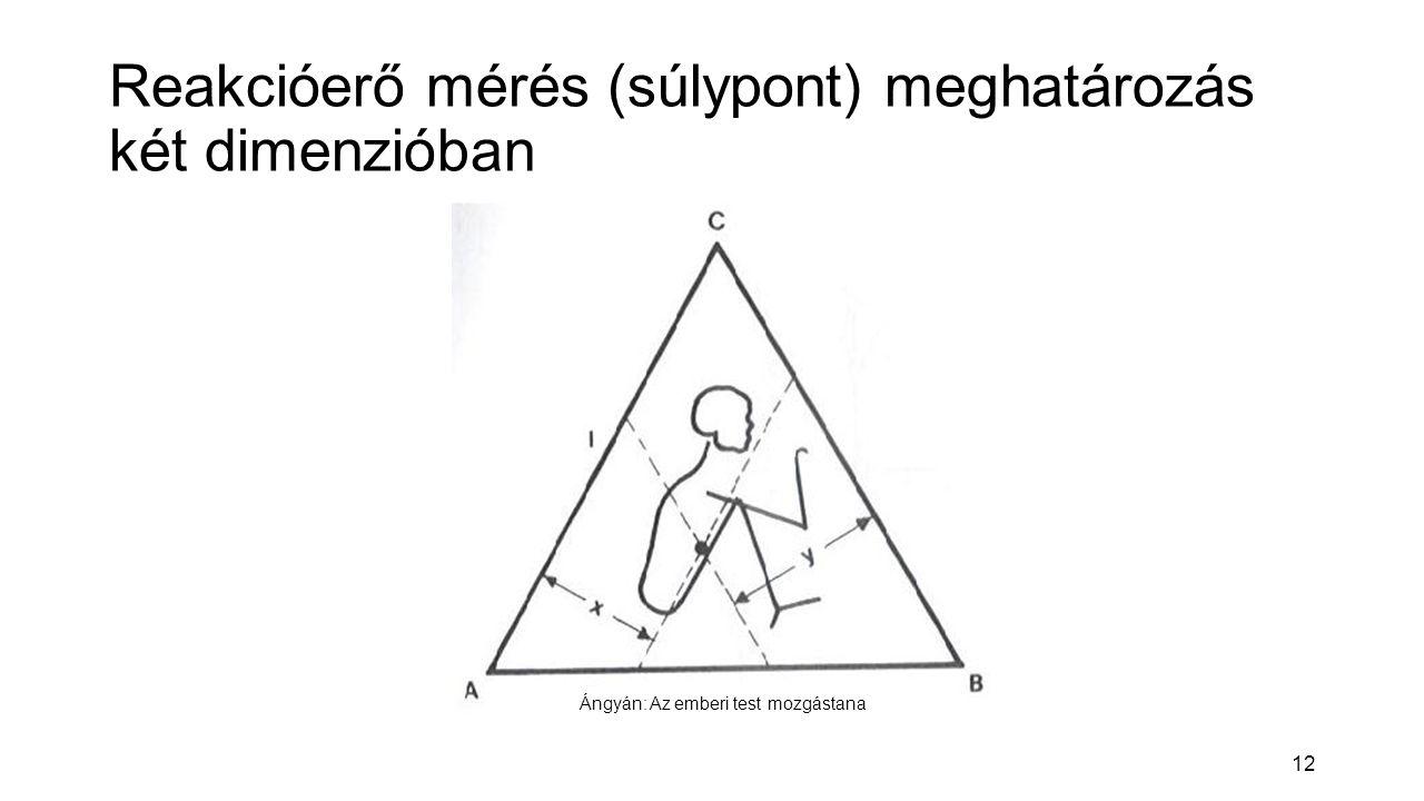 12 Reakcióerő mérés (súlypont) meghatározás két dimenzióban Ángyán: Az emberi test mozgástana