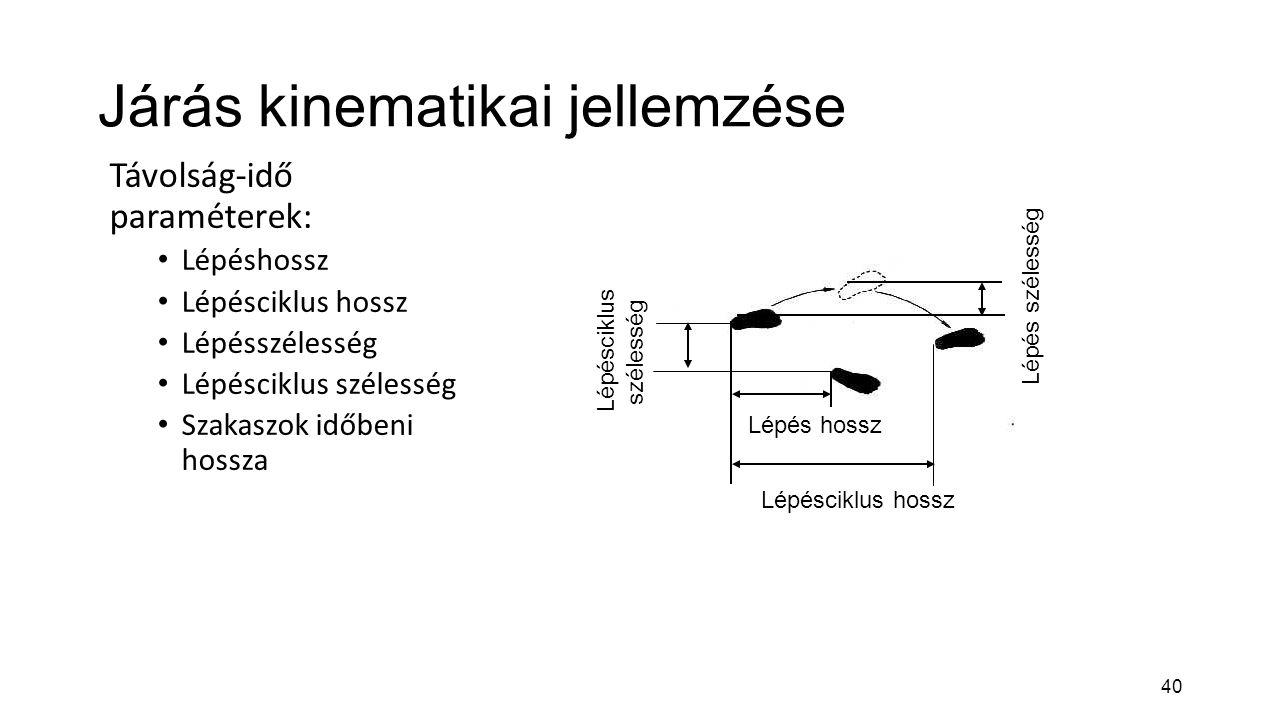 40 Járás kinematikai jellemzése Távolság-idő paraméterek: Lépéshossz Lépésciklus hossz Lépésszélesség Lépésciklus szélesség Szakaszok időbeni hossza L