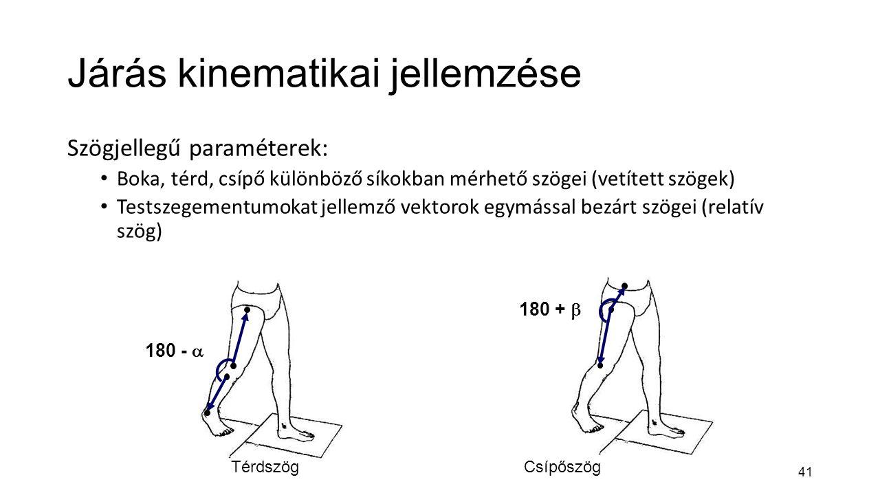 41 Járás kinematikai jellemzése Szögjellegű paraméterek: Boka, térd, csípő különböző síkokban mérhető szögei (vetített szögek) Testszegementumokat jel