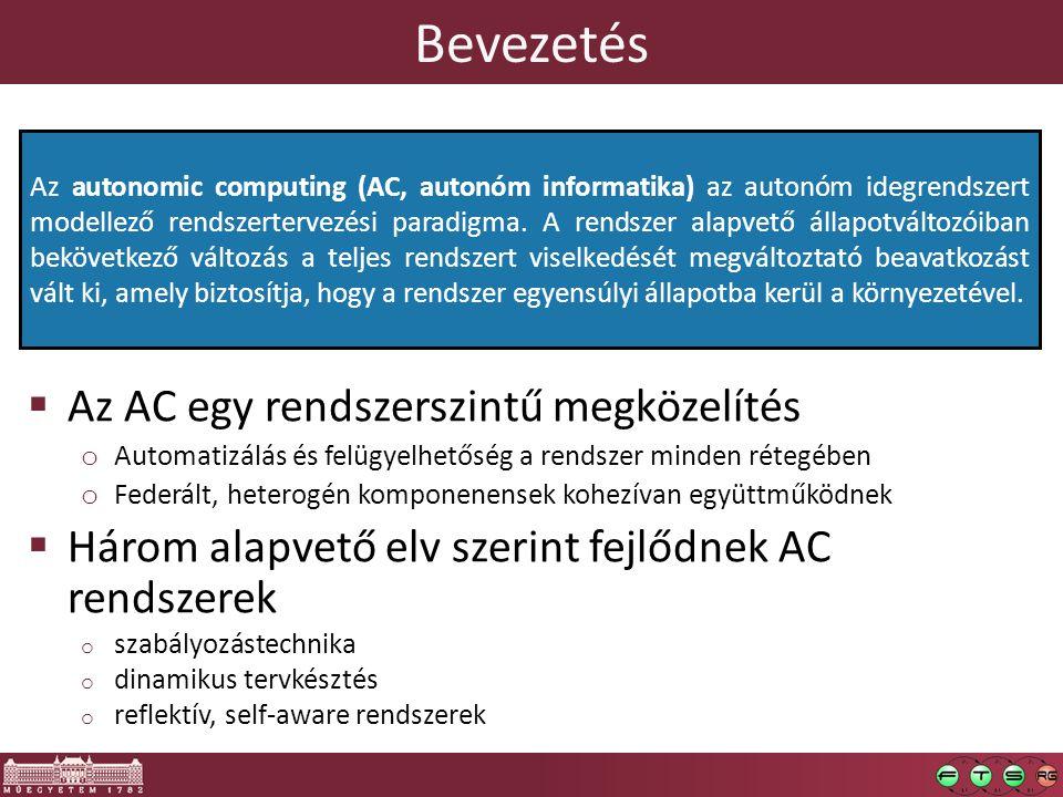 Bevezetés  Az AC egy rendszerszintű megközelítés o Automatizálás és felügyelhetőség a rendszer minden rétegében o Federált, heterogén komponenensek kohezívan együttműködnek  Három alapvető elv szerint fejlődnek AC rendszerek o szabályozástechnika o dinamikus tervkésztés o reflektív, self-aware rendszerek Az autonomic computing (AC, autonóm informatika) az autonóm idegrendszert modellező rendszertervezési paradigma.