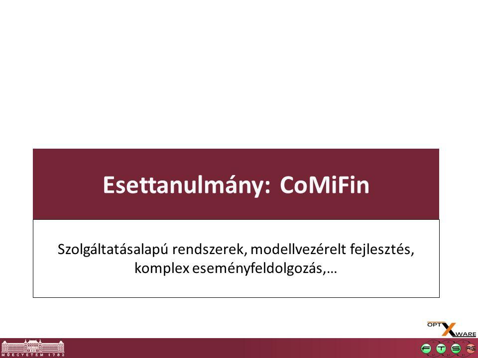 Esettanulmány: CoMiFin Szolgáltatásalapú rendszerek, modellvezérelt fejlesztés, komplex eseményfeldolgozás,…
