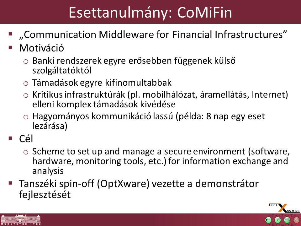 """Esettanulmány: CoMiFin  """"Communication Middleware for Financial Infrastructures  Motiváció o Banki rendszerek egyre erősebben függenek külső szolgáltatóktól o Támadások egyre kifinomultabbak o Kritikus infrastruktúrák (pl."""