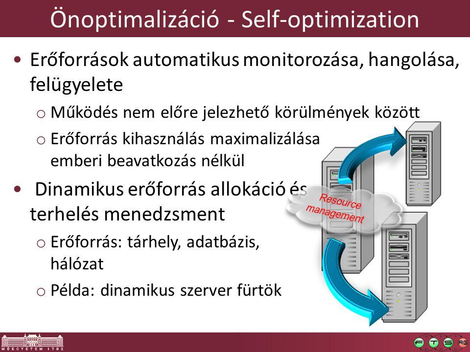 Önoptimalizáció - Self-optimization Erőforrások automatikus monitorozása, hangolása, felügyelete o Működés nem előre jelezhető körülmények között o Erőforrás kihasználás maximalizálása emberi beavatkozás nélkül Dinamikus erőforrás allokáció és terhelés menedzsment o Erőforrás: tárhely, adatbázis, hálózat o Példa: dinamikus szerver fürtök