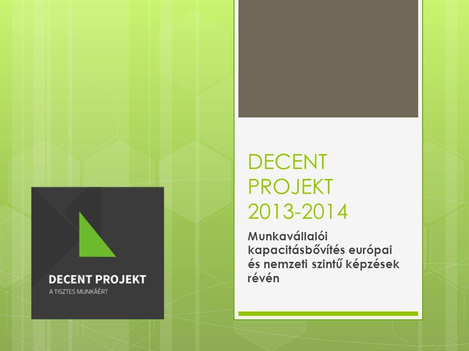 DECENT PROJEKT 2013-2014 Munkavállalói kapacitásbővítés európai és nemzeti szintű képzések révén