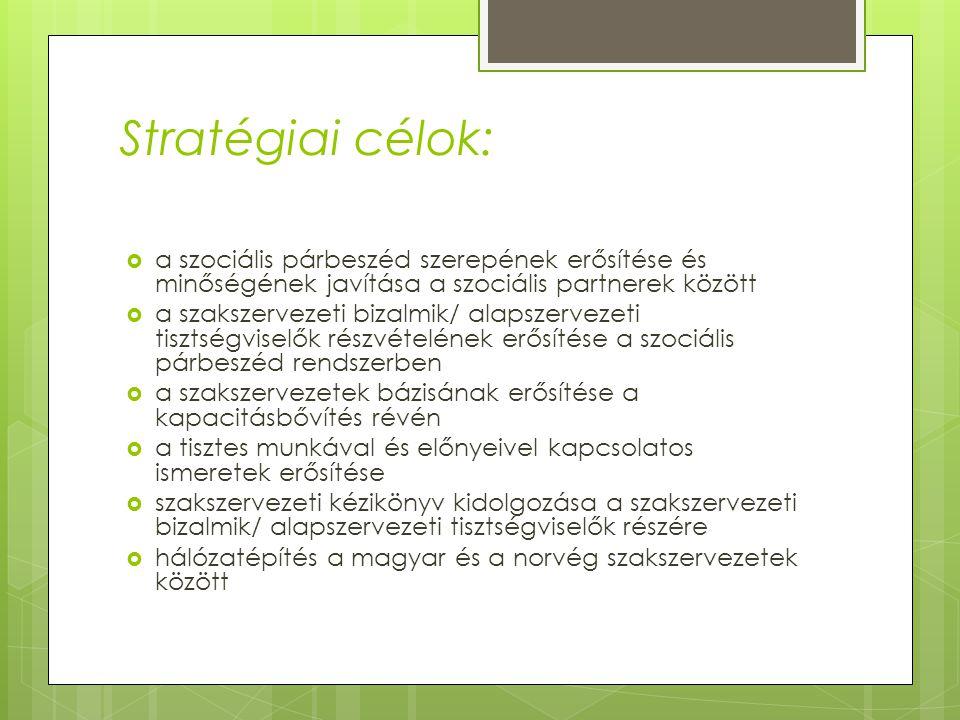 Stratégiai célok:  a szociális párbeszéd szerepének erősítése és minőségének javítása a szociális partnerek között  a szakszervezeti bizalmik/ alaps