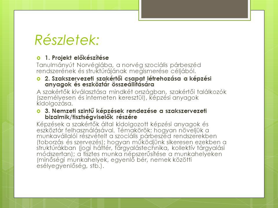 Részletek:  1. Projekt előkészítése Tanulmányút Norvégiába, a norvég szociális párbeszéd rendszerének és struktúrájának megismerése céljából.  2. Sz
