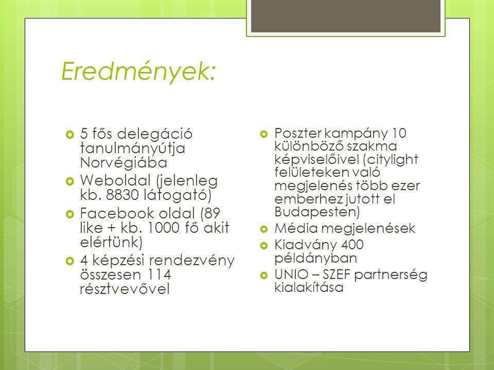 Eredmények:  5 fős delegáció tanulmányútja Norvégiába  Weboldal (jelenleg kb. 8830 látogató)  Facebook oldal (89 like + kb. 1000 fő akit elértünk)