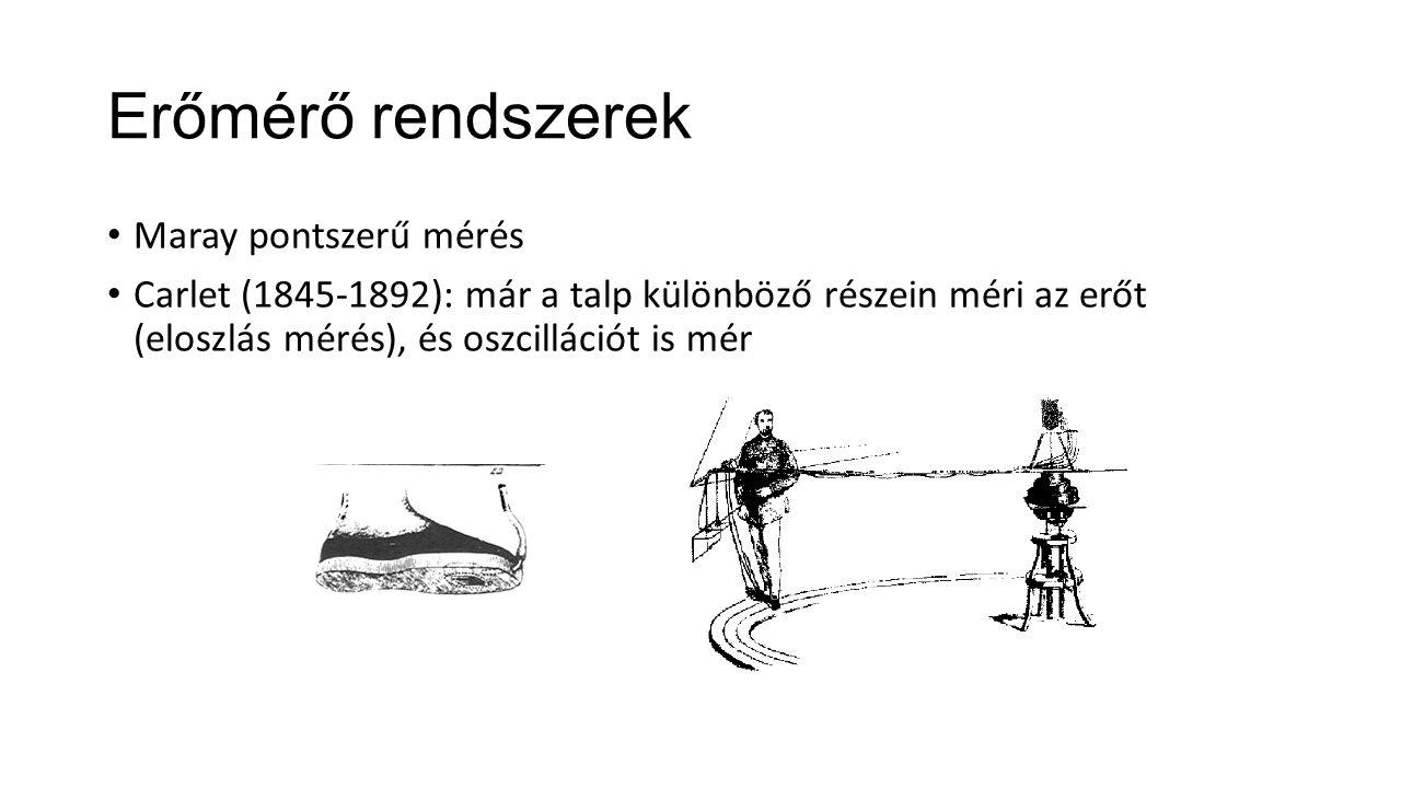 Erőmérő rendszerek Maray pontszerű mérés Carlet (1845-1892): már a talp különböző részein méri az erőt (eloszlás mérés), és oszcillációt is mér