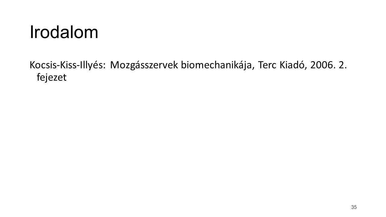 Irodalom Kocsis-Kiss-Illyés: Mozgásszervek biomechanikája, Terc Kiadó, 2006. 2. fejezet 35