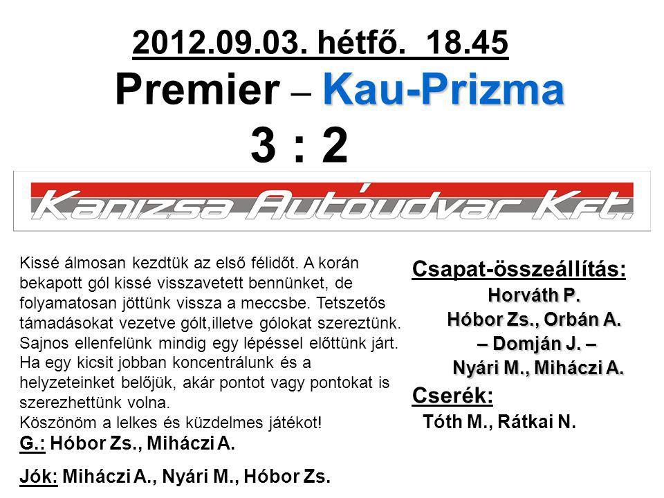 Kau-Prizma 2012.09.03. hétfő. 18.45 Premier – Kau-Prizma 3 : 2 Csapat-összeállítás: Horváth P. Hóbor Zs., Orbán A. – Domján J. – – Domján J. – Nyári M
