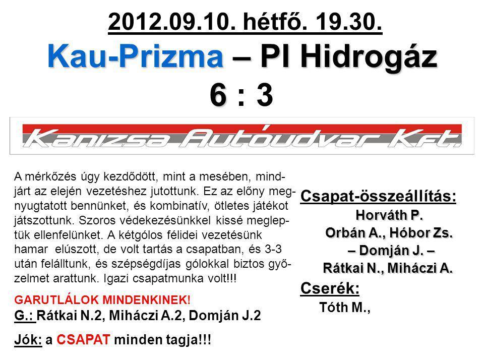 Kau-Prizma – PI Hidrogáz 6 2012.09.10. hétfő. 19.30. Kau-Prizma – PI Hidrogáz 6 : 3 Csapat-összeállítás: Horváth P. Orbán A., Hóbor Zs. – Domján J. –