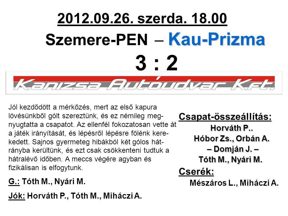 Kau-Prizma 2012.09.26. szerda. 18.00 Szemere-PEN – Kau-Prizma 3 : 2 Csapat-összeállítás: Horváth P.. Hóbor Zs., Orbán A. – Domján J. – – Domján J. – T