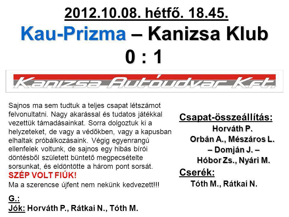Kau-Prizma – Kanizsa Klub 0 2012.10.08. hétfő. 18.45. Kau-Prizma – Kanizsa Klub 0 : 1 Csapat-összeállítás: Horváth P. Orbán A., Mészáros L. – Domján J