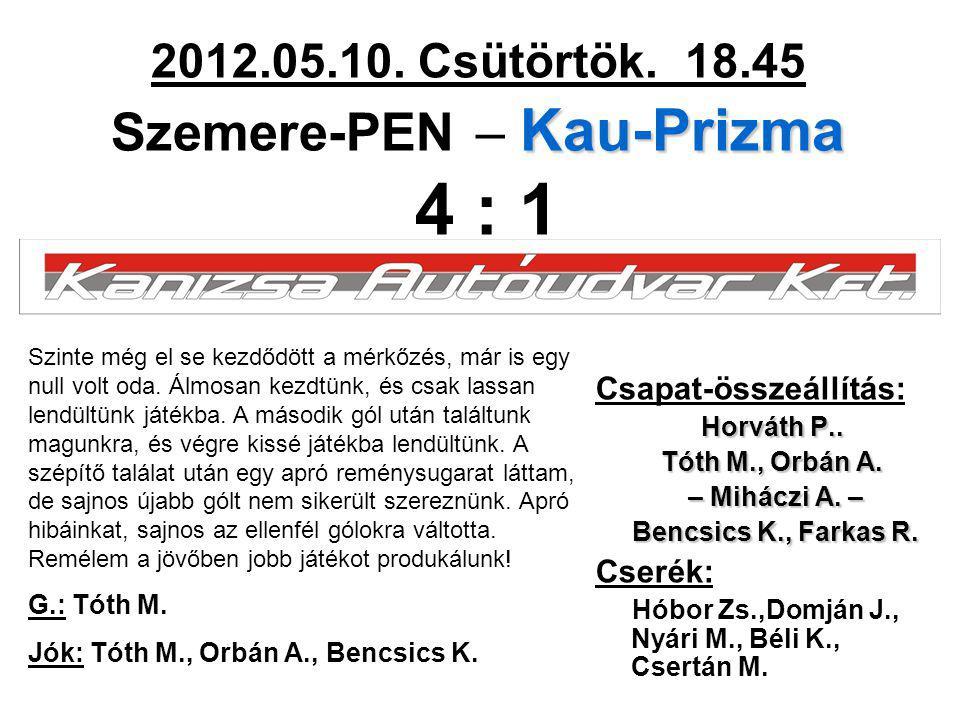 Kau-Prizma 2012.05.10. Csütörtök. 18.45 Szemere-PEN – Kau-Prizma 4 : 1 Csapat-összeállítás: Horváth P.. Tóth M., Orbán A. – Miháczi A. – – Miháczi A.