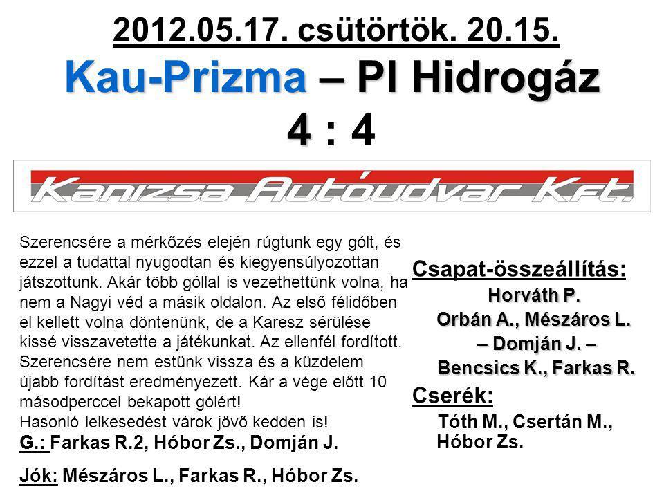 Kau-Prizma – PI Hidrogáz 4 2012.05.17. csütörtök. 20.15. Kau-Prizma – PI Hidrogáz 4 : 4 Csapat-összeállítás: Horváth P. Orbán A., Mészáros L. – Domján