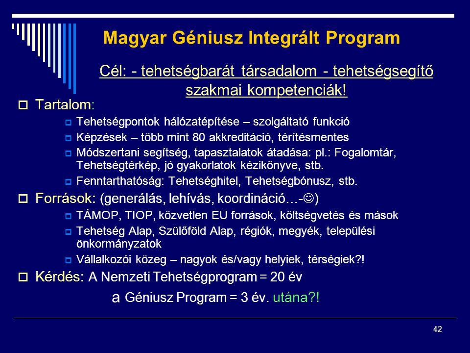 42 Magyar Géniusz Integrált Program  Tartalom:  Tehetségpontok hálózatépítése – szolgáltató funkció  Képzések – több mint 80 akkreditáció, térítésmentes  Módszertani segítség, tapasztalatok átadása: pl.: Fogalomtár, Tehetségtérkép, jó gyakorlatok kézikönyve, stb.