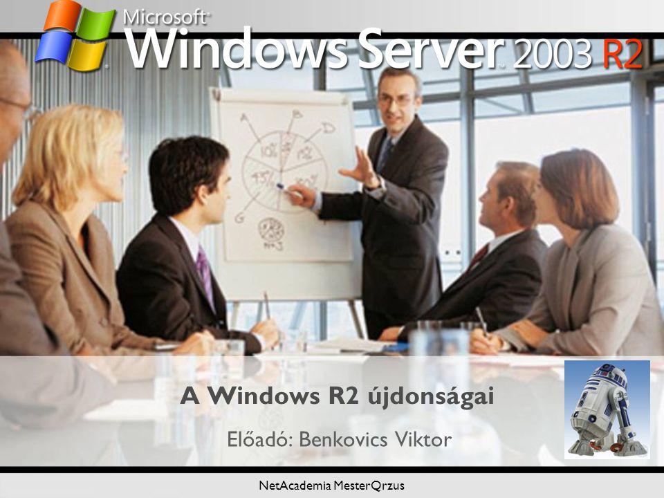 NetAcademia MesterQrzus A Windows R2 újdonságai Előadó: Benkovics Viktor