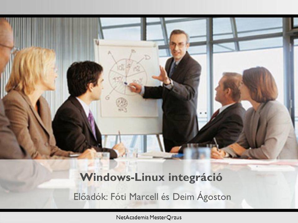 NetAcademia MesterQrzus Windows-Linux integráció Előadók: Fóti Marcell és Deim Ágoston