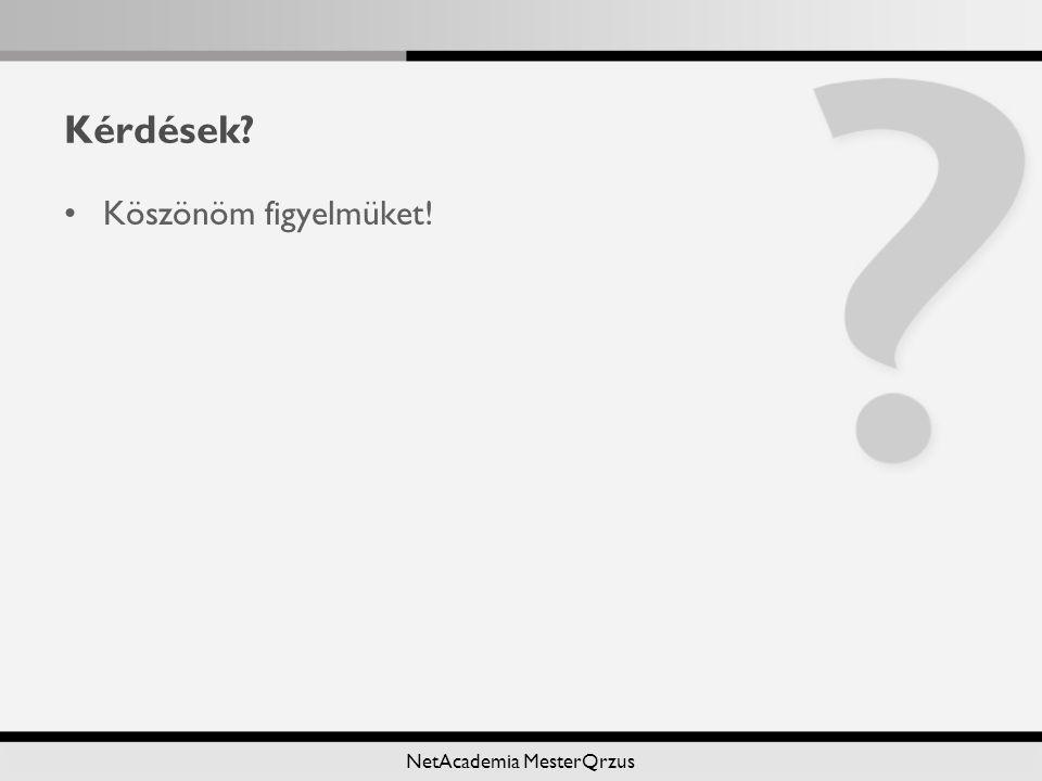 NetAcademia MesterQrzus Kérdések? Köszönöm figyelmüket!