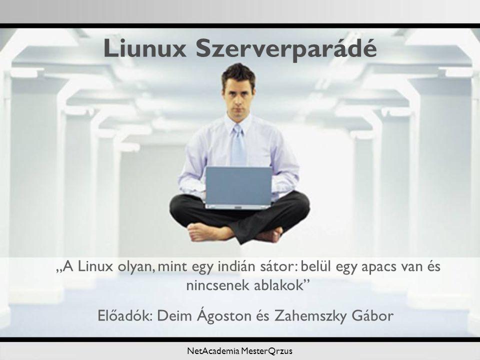 """NetAcademia MesterQrzus Előadók: Deim Ágoston és Zahemszky Gábor Liunux Szerverparádé """"A Linux olyan, mint egy indián sátor: belül egy apacs van és nincsenek ablakok"""
