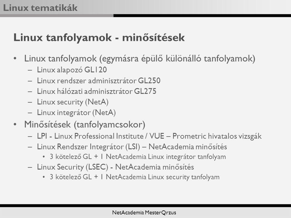 Linux tematikák NetAcademia MesterQrzus Linux tanfolyamok - minősítések Linux tanfolyamok (egymásra épülő különálló tanfolyamok) –Linux alapozó GL120 –Linux rendszer adminisztrátor GL250 –Linux hálózati adminisztrátor GL275 –Linux security (NetA) –Linux integrátor (NetA) Minősítések (tanfolyamcsokor) –LPI - Linux Professional Institute / VUE – Prometric hivatalos vizsgák –Linux Rendszer Integrátor (LSI) – NetAcademia minősítés 3 kötelező GL + 1 NetAcademia Linux integrátor tanfolyam –Linux Security (LSEC) - NetAcademia minősítés 3 kötelező GL + 1 NetAcademia Linux security tanfolyam