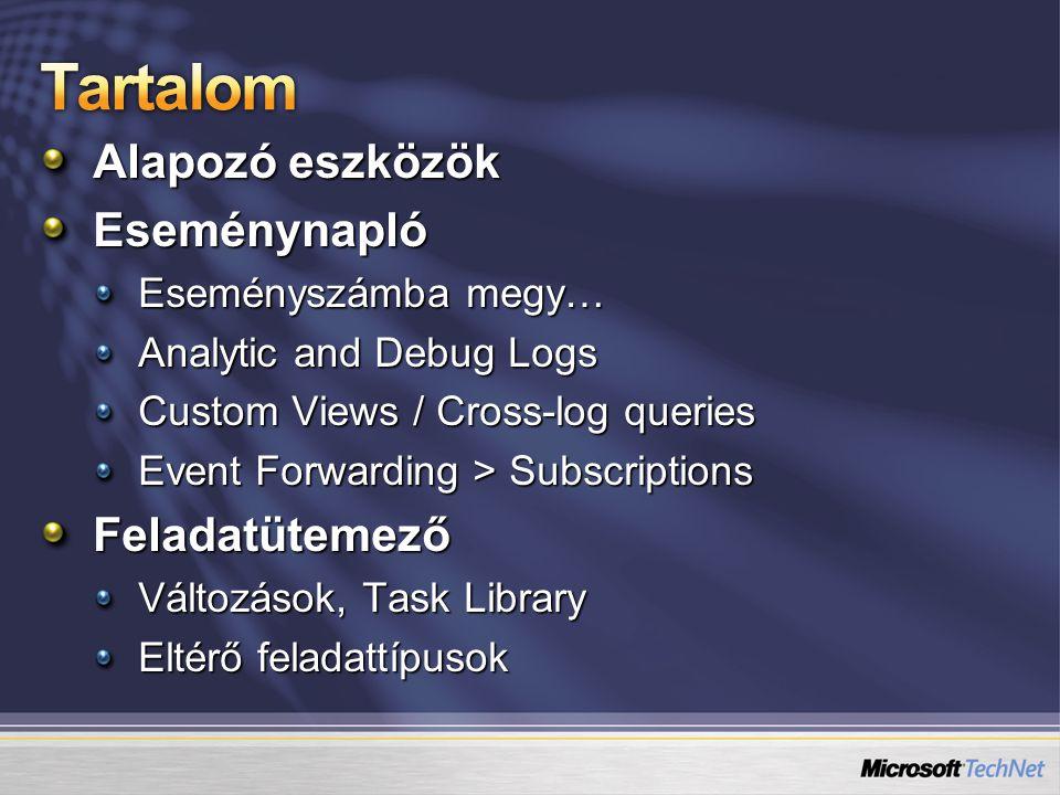 Szintén rengeteget változott Áttekinthető alapnézet Task Summary és Active Tasks keretek Task Library Eseménynapló feladatok kategória Konzerv feladatok kategória Kb.