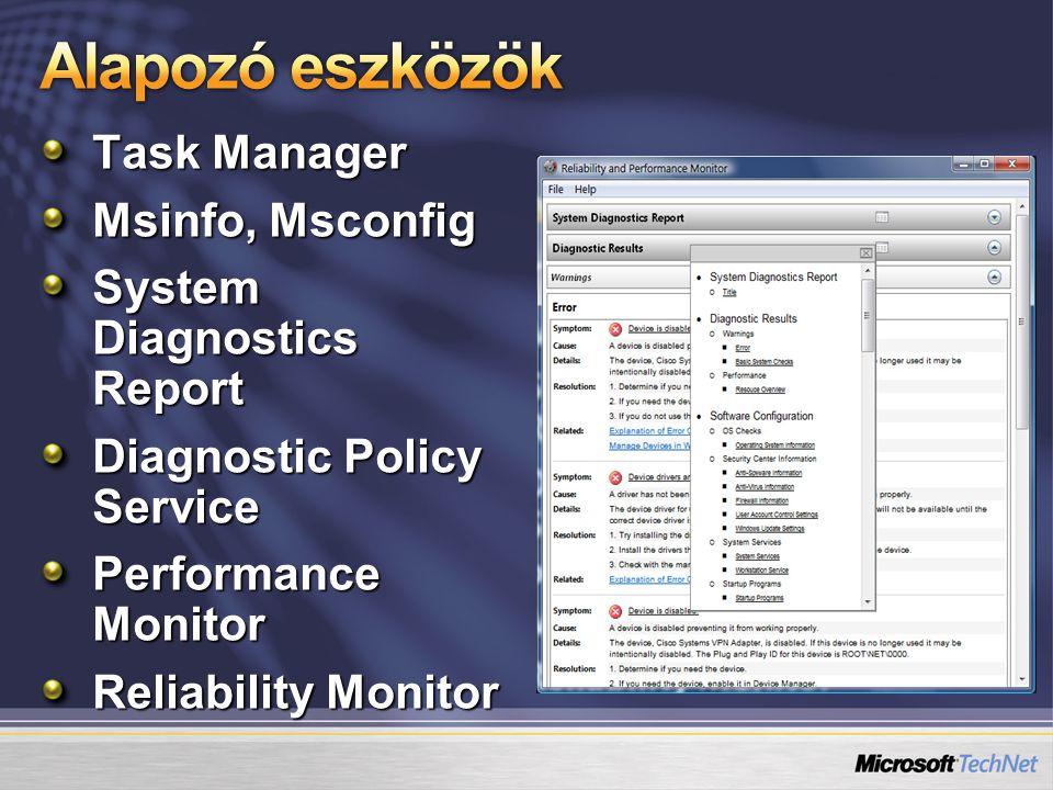 Basic Task Tényleg egyszerű feladatokra, gyorsan Meghívható az Eseménynaplóból (Nem Basic) Task (Nem Basic) Task Igazán sokoldalú és összetett Új triggerek, gép / állapot függő opciók Új kondiciók a hálózat, az energiaellátás, és a nyugalmi állapot területeken UAC opció, rejtett taszk, feladat más OS-re
