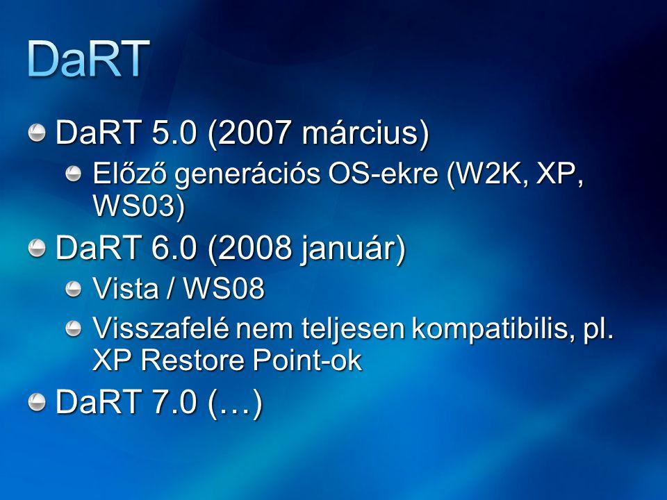DaRT 5.0 (2007 március) Előző generációs OS-ekre (W2K, XP, WS03) DaRT 6.0 (2008 január) Vista / WS08 Visszafelé nem teljesen kompatibilis, pl.