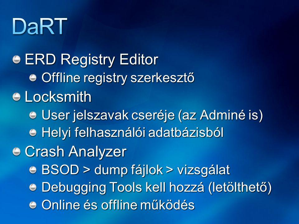 ERD Registry Editor Offline registry szerkesztő Locksmith User jelszavak cseréje (az Adminé is) Helyi felhasználói adatbázisból Crash Analyzer BSOD > dump fájlok > vizsgálat Debugging Tools kell hozzá (letölthető) Online és offline működés