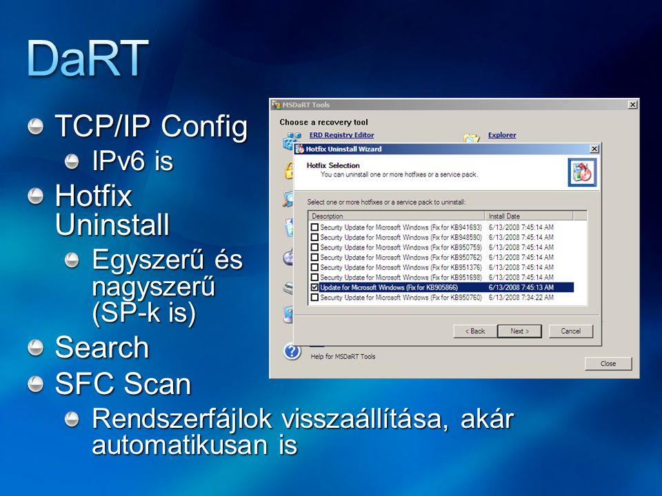 TCP/IP Config IPv6 is Hotfix Uninstall Egyszerű és nagyszerű (SP-k is) Search SFC Scan Rendszerfájlok visszaállítása, akár automatikusan is