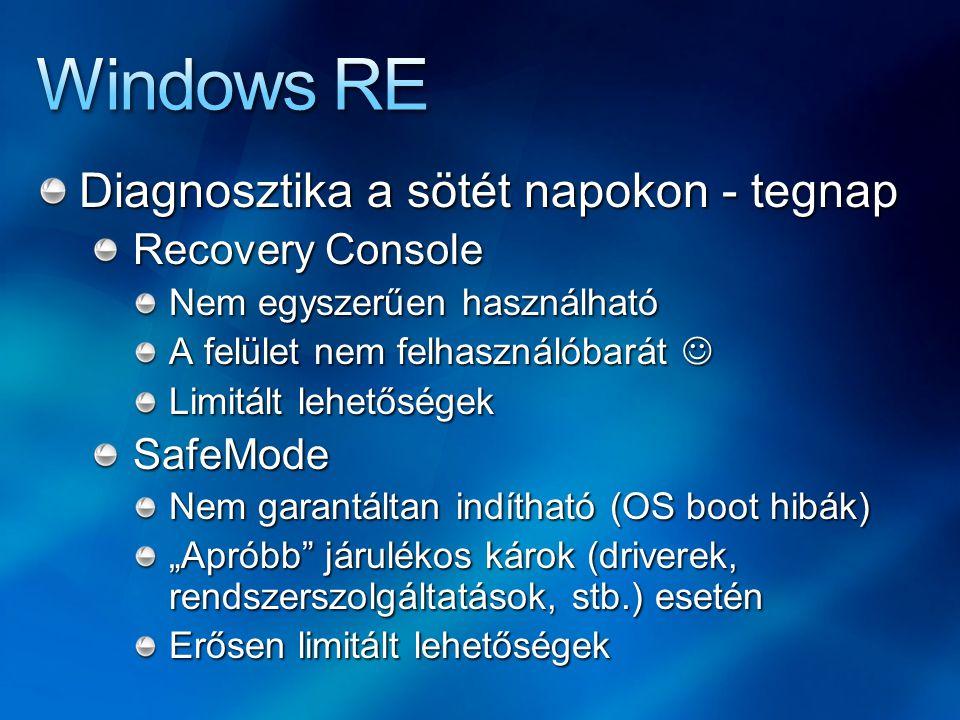 """Diagnosztika a sötét napokon - tegnap Recovery Console Nem egyszerűen használható A felület nem felhasználóbarát A felület nem felhasználóbarát Limitált lehetőségek SafeMode Nem garantáltan indítható (OS boot hibák) """"Apróbb járulékos károk (driverek, rendszerszolgáltatások, stb.) esetén Erősen limitált lehetőségek"""