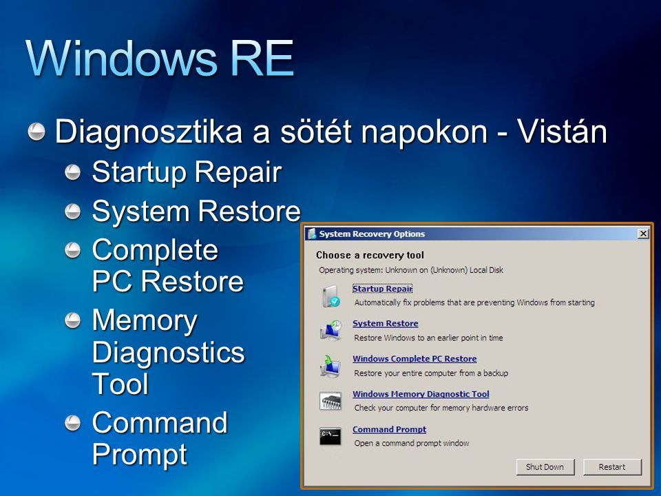 Diagnosztika a sötét napokon - Vistán Startup Repair System Restore Complete PC Restore Memory Diagnostics Tool Command Prompt